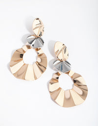 Mixed Metal Dinted Circle Drop Earrings - link has visual effect only