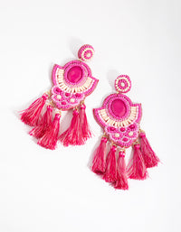 Bead Flat Circle Dip Earrings - link has visual effect only