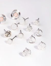Silver Love Big Stud 8-Pack Earrings - link has visual effect only