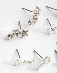 Silver Diamante Key and Star 8-Pack Earrings - link has visual effect only