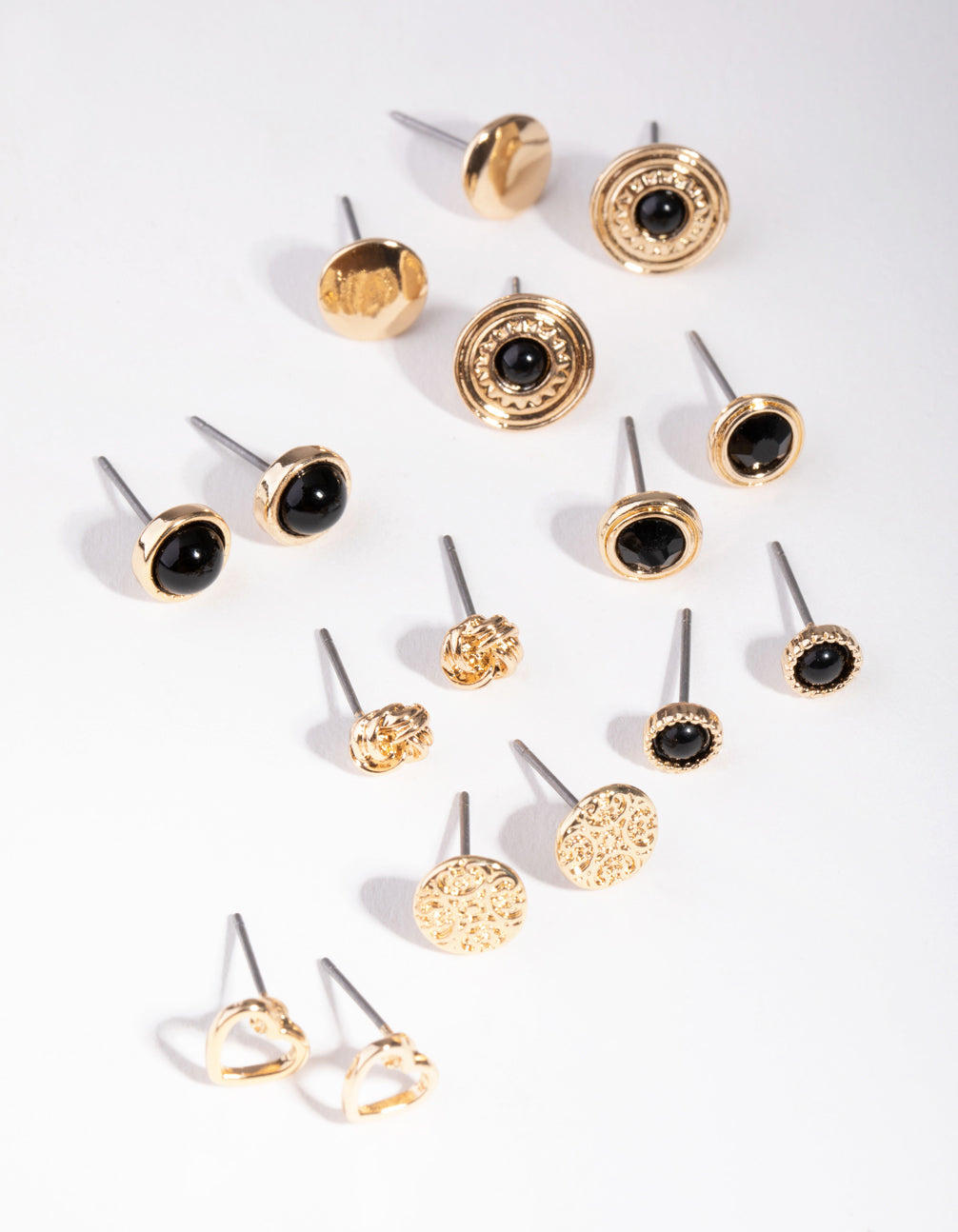 Gold Love Big Stud 8-Pack Earrings
