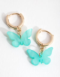 Gold Blue Acrylic Butterfly Huggie Earrings - link has visual effect only
