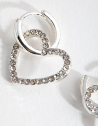 Silver Heart Diamante Huggie Earrings - link has visual effect only