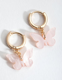 Gold Blush Acrylic Butterfly Huggie Earrings - link has visual effect only