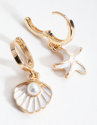 Gold Matte Shell and Pearl Huggie Earrings - link has visual effect only