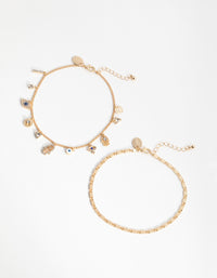 Gold Evil Eye Charm 2-Pack Anklet - link has visual effect only