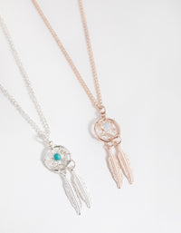 Mixed Metal Dreamcatcher 2-Pack Necklaces - link has visual effect only
