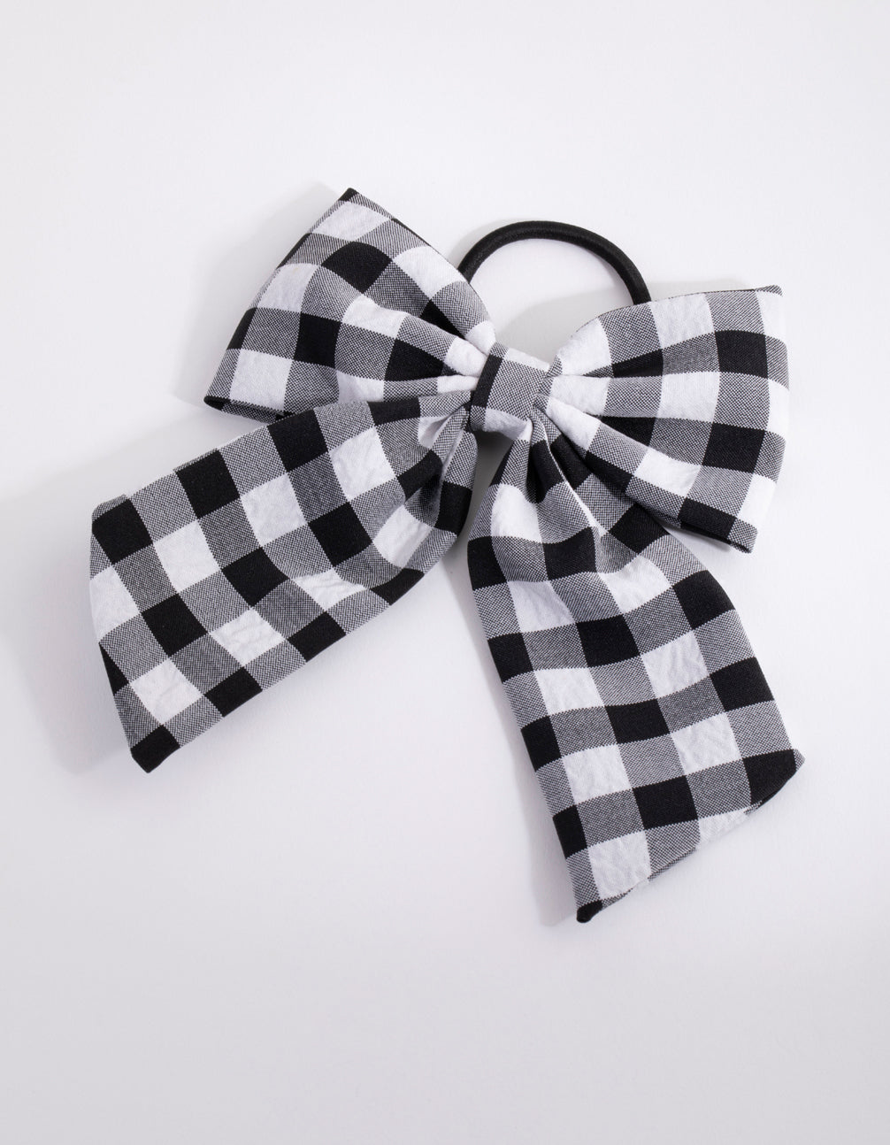 Gingham Long Bow Hair Tie
