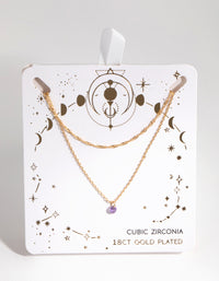 18ct Gold Plated February Amethyst Cubic Zirconia Necklace Set - link has visual effect only