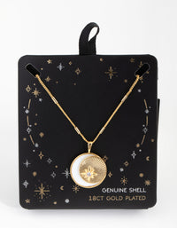 18ct Gold Plated Cubic Zirconia and Shell Moon Necklace - link has visual effect only