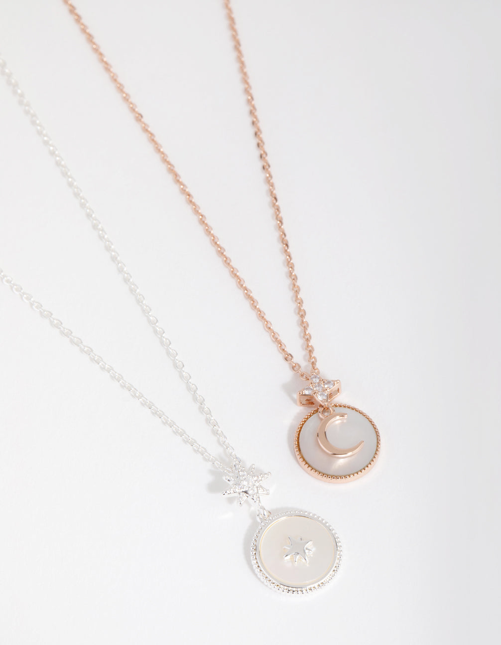 Rose Gold and Silver Plated Cubic Zirconia and Shell Necklace Set