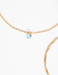 18ct Gold Plated Aquamarine Cubic Zirconia March Bracelet Set - link has visual effect only