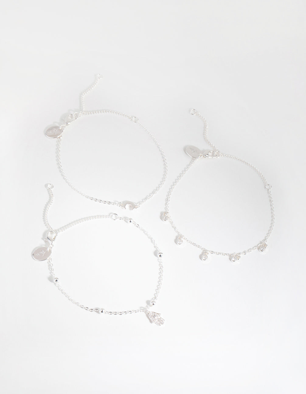 Silver Plated Cubic Zirconia Hamsa and Moon Bracelet Set