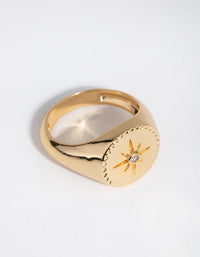 18ct Gold Plated Cubic Zirconia Starlet Ring - link has visual effect only