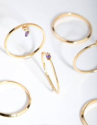 18ct Gold Plated February Amethyst Cubic Zirconia Ring 7-Pack - link has visual effect only