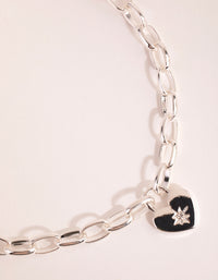 Silver Chain and Heart Necklace - link has visual effect only