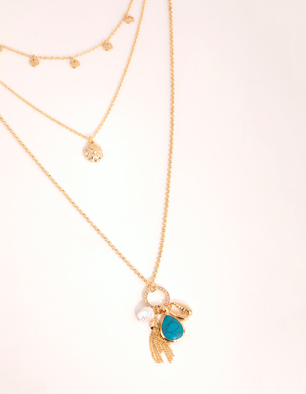 Gold Disc and Charm Layered Necklace
