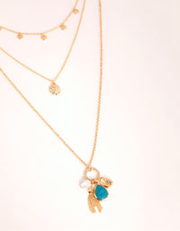 Gold Disc and Charm Layered Necklace - link has visual effect only