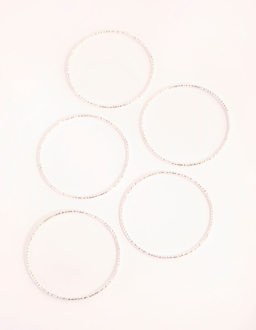 Real Silver Plated Thin Textured Bangle 5-Pack