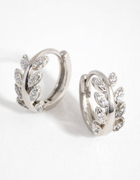 Rhodium Diamante Vine Huggie Earrings - link has visual effect only