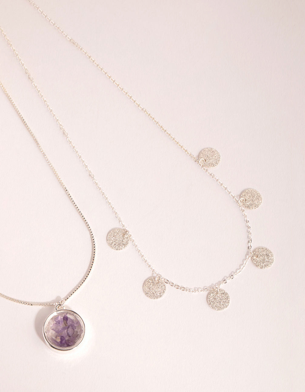 Silver Amethyst Shaker Necklace