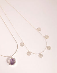 Silver Amethyst Shaker Necklace - link has visual effect only