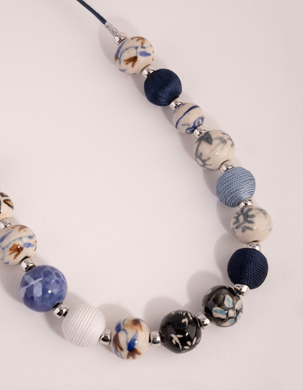 Silver Mixed Porcelain Bead Rope Necklace