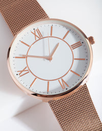 Rose Gold Classic Mesh Strap Watch - link has visual effect only