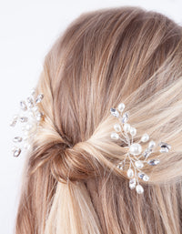 Pearl & Diamante Bun Slide 2 Pack - link has visual effect only