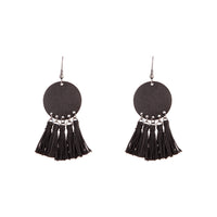 Black Sandblast Disc Tassel Earring