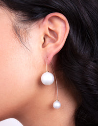 Gold Double Pearl Bead Earrings - link has visual effect only