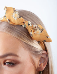 Mustard Floral Fabric Headband - link has visual effect only
