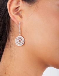 Rose Gold Round Diamante Detail Drop Earring