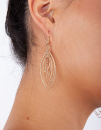 Gold Textured Shiny Layered Drop Earrings