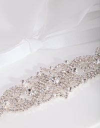 Diamante Silver White Sash Headband - link has visual effect only