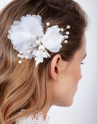 Silver White Fabric Flower Hair Clip - link has visual effect only