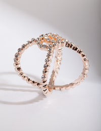 Rose Gold Diamante Cross Over Ring