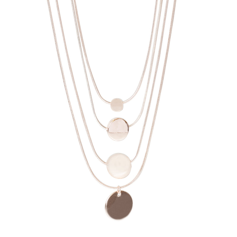 Rose Gold Layered Disc Necklace