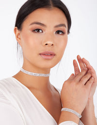 Four Row Diamante Choker and Bracelet Set - link has visual effect only