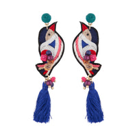 Embroidered Bird Tassel Earring