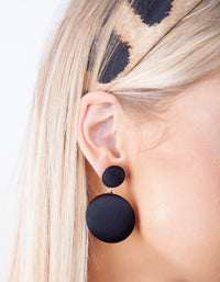 Black Simple Fabric Drop Earring - link has visual effect only