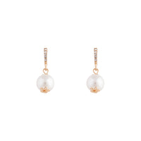 Gold Diamante Line Pearl Drop Earring