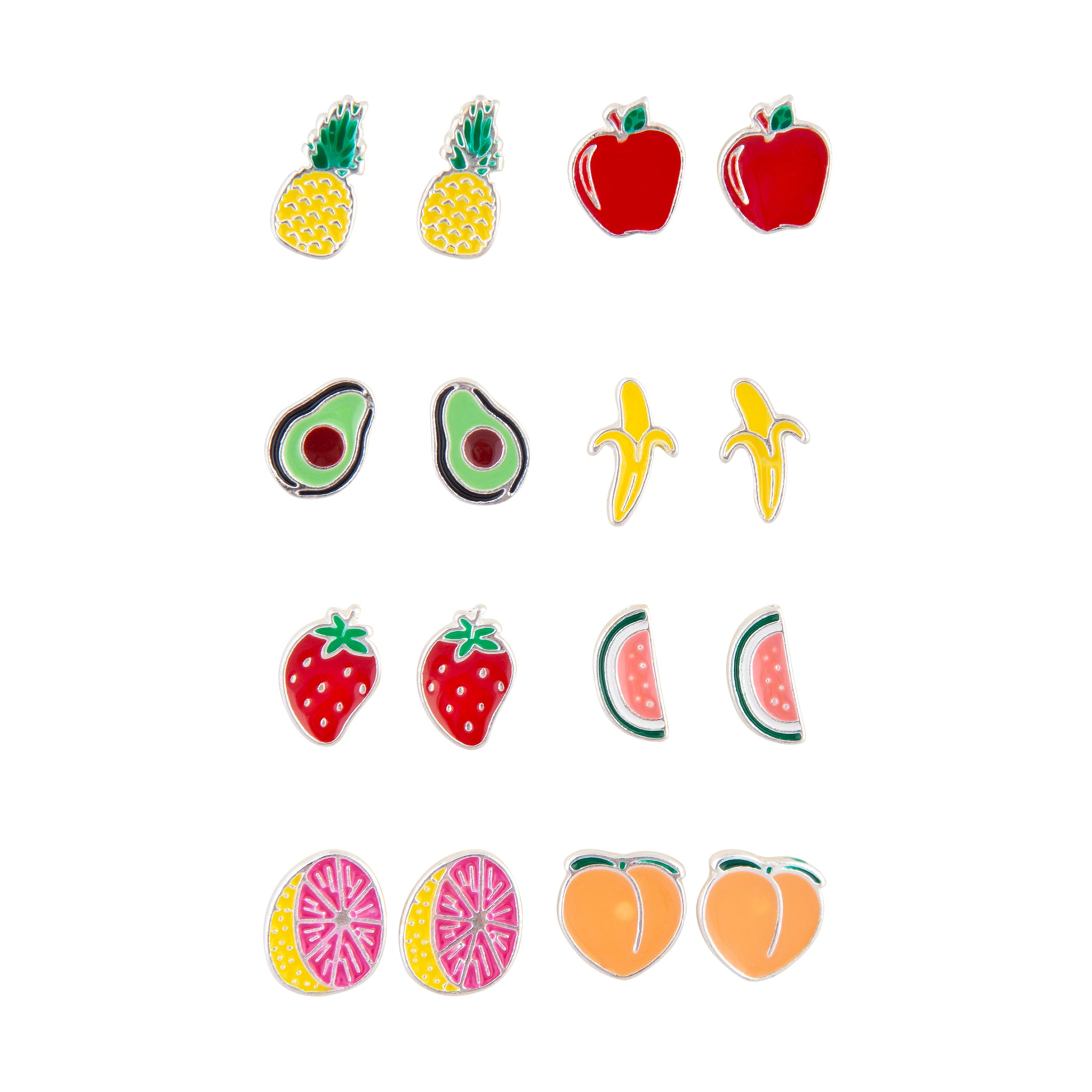 Mixed Fruits Enamel Stud Earring 8 Pack