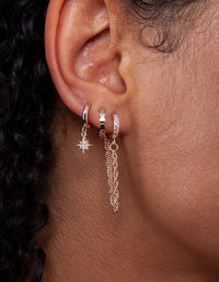 Gold Celestial Charm Huggie Earrings