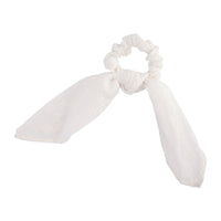 White Embroidered Scrunchie Bow - link has visual effect only