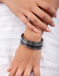 Gunmetal Cup Chain Glitter Bangle Pack