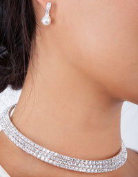 Rhodium Choker Diamante Collar Necklace - link has visual effect only