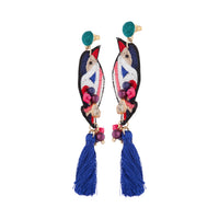 Embroidered Bird Tassel Earring - link has visual effect only
