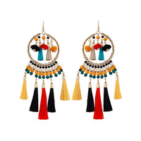Green Yellow Tassel Bead Statement Earring - link has visual effect only
