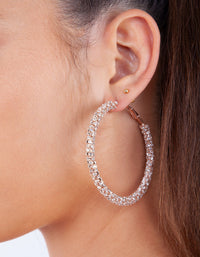 Rose Gold Large Cup Chain Diamante Hoop Earring - link has visual effect only